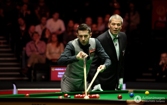 Mark Selby in action during the quarter finalsteven paston keep
