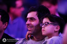 Darts - 2014 Ladbrokes World Darts Championship - Alexandra Palace, London - 01/01/14 Snooker player Ronnie O'Sullivan and his son watch during the final Mandatory Credit: Action Images / Steven Paston Livepic EDITORIAL USE ONLY.