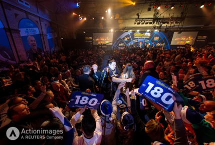 Darts - William Hill World Darts Championship - Alexandra Palace, London - 30/12/14 General view of Adrian Lewis during the walk on in the third round Mandatory Credit: Action Images / Steven Paston Livepic EDITORIAL USE ONLY.